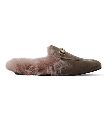GUCCI Princetown velvet slippers (Beige