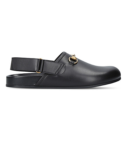 GUCCI River horsebit leather sliders (Black