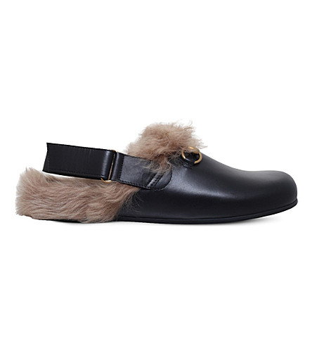 GUCCI River leather and shearling clogs (Black