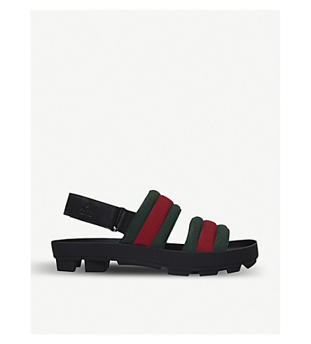 GUCCI Sam webbing and leather sandals (Black/comb