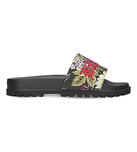 GUCCI Pursuit floral-jacquard slide sandals (Mult/other