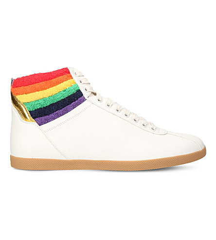 GUCCI Rainbow leather high-top trainers (White