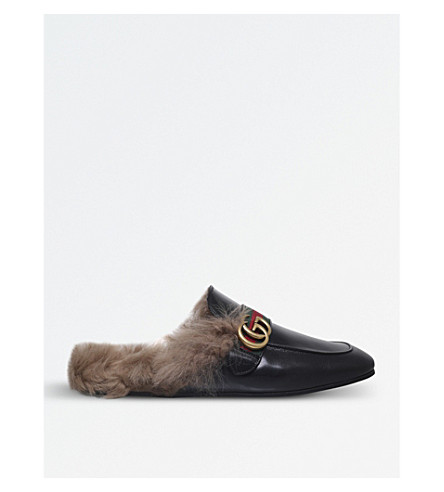GUCCI Princetown backless leather slippers (Black