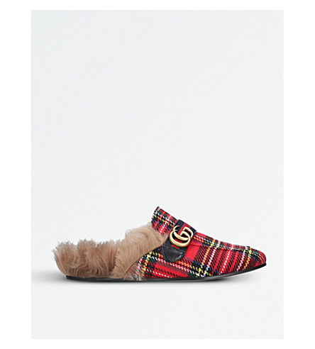 GUCCI Princetown tartan slippers (Mult/other