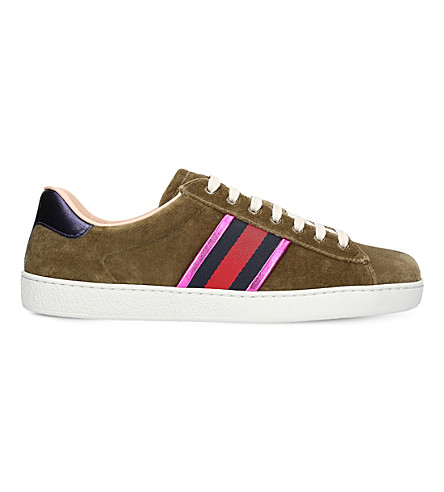 GUCCI New Ace velvet trainers (Beige
