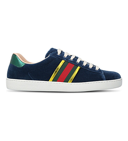 GUCCI New Ace striped velvet trainers (Blue