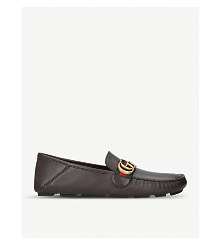 GUCCI Noel leather driving shoes (Brown