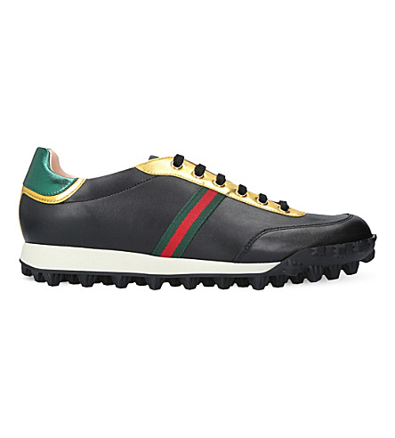 GUCCI Web leather trainers (Black/comb