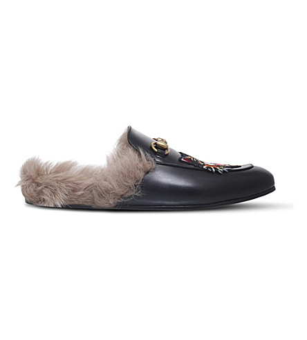GUCCI Princetown Angry Cat leather slippers (Black