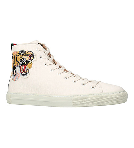 GUCCI Major Tiger-Embroidered Leather High-Top Trainers in White