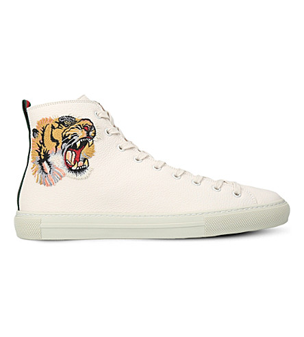 GUCCI Major tiger-embroidered leather high-top trainers (White