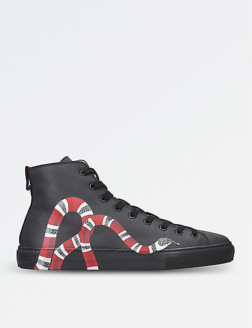 gucci shoes black snake. gucci major snake-embellished leather trainers gucci shoes black snake g