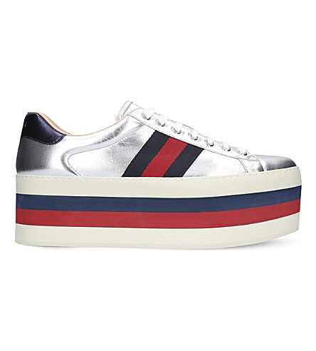 GUCCI New Ace wedge metallic-leather trainers (Silver