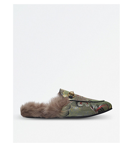 GUCCI Princetown dragon jacquard and shearling slippers (Pale+green