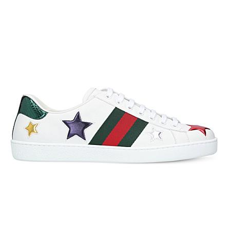 GUCCI 新王牌明星-细节皮革运动鞋 (白色