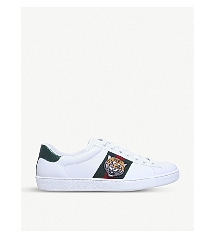 GUCCI New Ace tiger-embroidered leather trainers (White