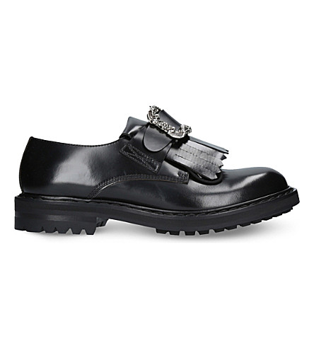 ALEXANDER MCQUEEN Punk Buckle leather loafers (Black/comb