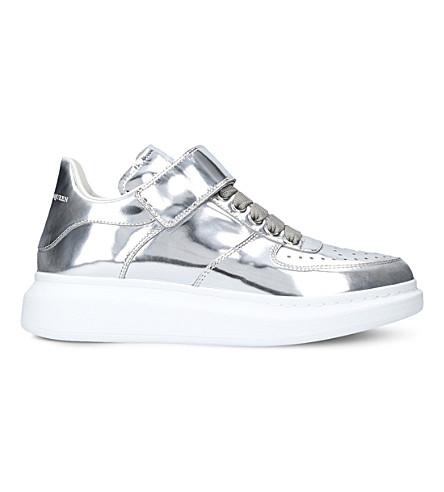 ALEXANDER MCQUEEN Show strap metallic-leather platform trainers (Silver