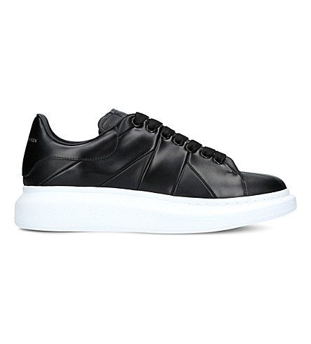 ALEXANDER MCQUEEN Show Union Jack leather platform trainers (Black