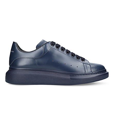 ALEXANDER MCQUEEN Show leather platform trainers (Navy
