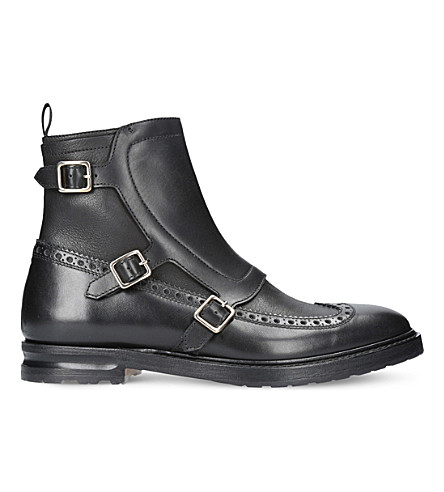 ALEXANDER MCQUEEN Triple buckle leather boots (Black