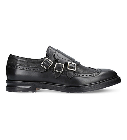 ALEXANDER MCQUEEN Triple leather monk-strap shoes (Black