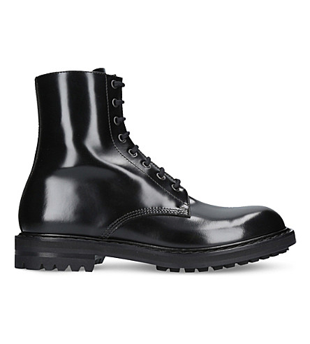 ALEXANDER MCQUEEN Military leather boots (Black