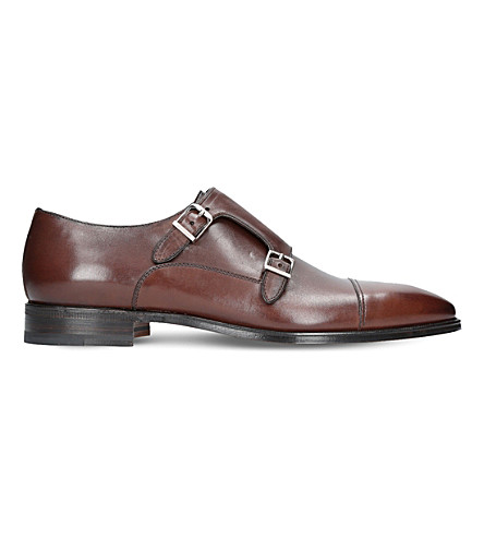 STEMAR Modena leather double monk shoes (Brown