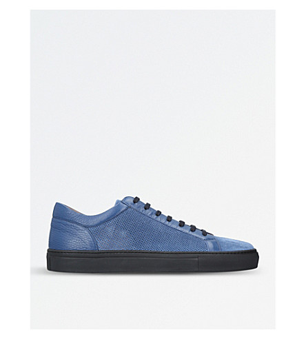 STEMAR Perforated leather trainers (Blue