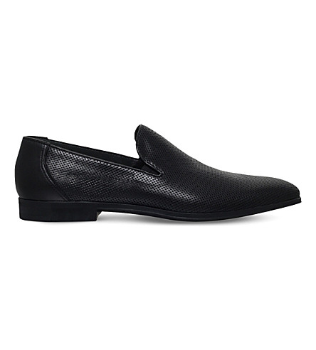 STEMAR Perforated leather loafers (Black