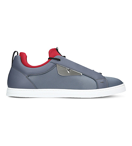 FENDI Monster leather trainers (Navy