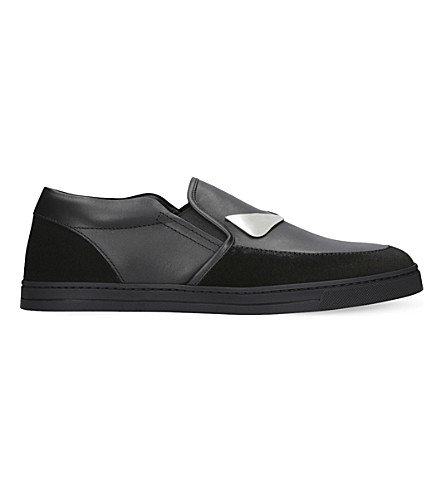 FENDI Monster suede and leather skate shoes (Black