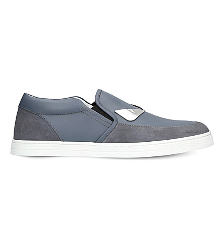 FENDI Monster suede and leather skate shoes (Blue