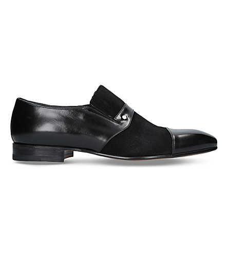 STEMAR Leather and suede slip-on loafers (Black