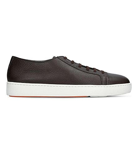 SANTONI Low-top leather trainers (Brown