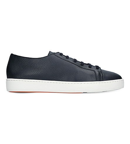 SANTONI Low-top leather trainers (Blue