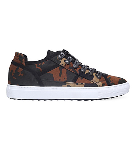 DSQUARED2 Camouflage-print canvas trainers (Brown/oth