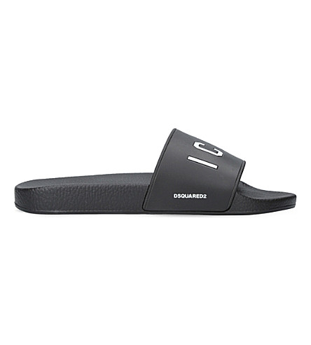 DSQUARED2 Icon pool rubber sliders (White/blk