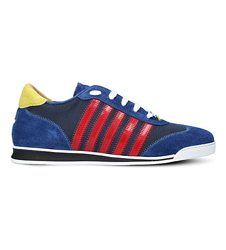 DSQUARED2 5 stripe suede and mesh trainers (Blue+other