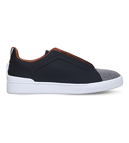 ERMENEGILDO ZEGNA Couture 3x leather and flannel trainers (Blue+other