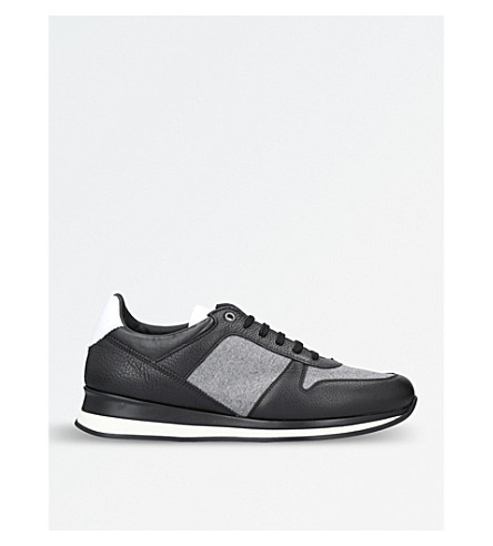 ERMENEGILDO ZEGNA City Life leather and flannel runner trainers (Blk/grey