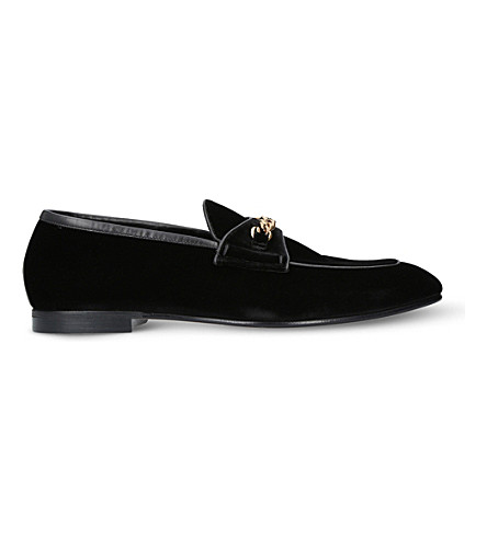 TOM FORD Valois chain-detail velvet loafers (Black