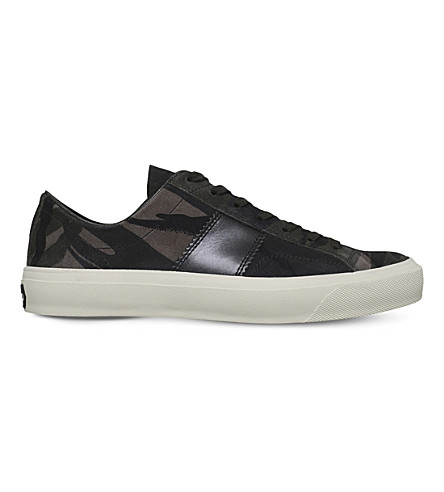 TOM FORD Cambridge suede low-top trainers (Grey+mixed