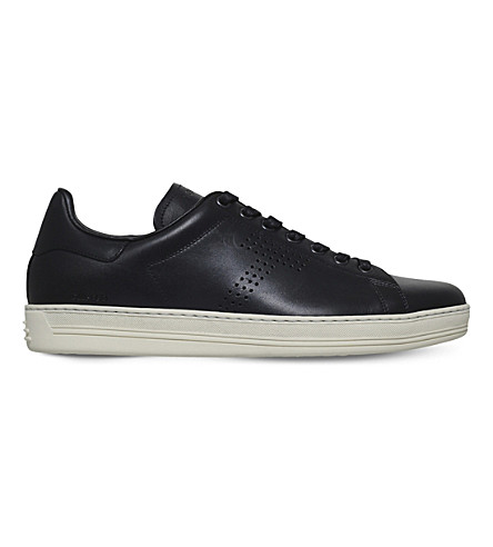 TOM FORD Warrick leather low-top trainers (Black