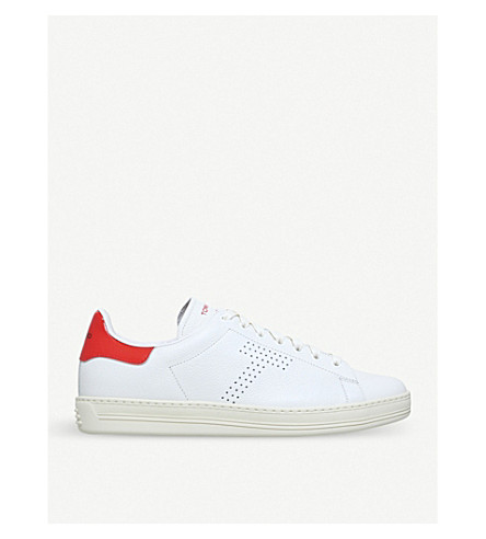 TOM FORD Warrick leather low-top trainers (White/oth