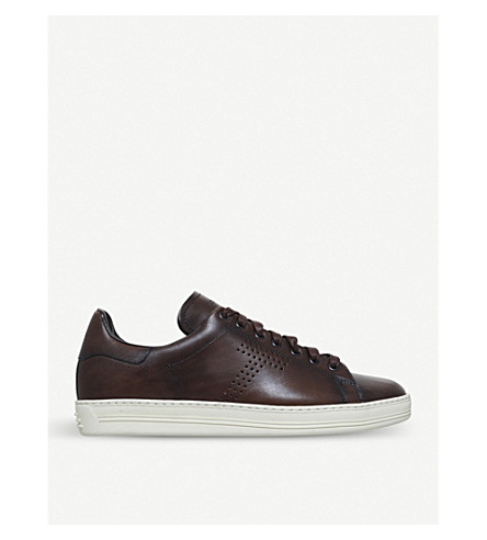 TOM FORD Warrick leather low-top trainers (Tan