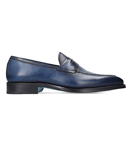 SUTOR MANTELLASSI Olimpo leather loafers (Blue