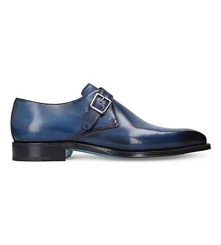 SUTOR MANTELLASSI Oreste single strap leather monk shoes (Blue