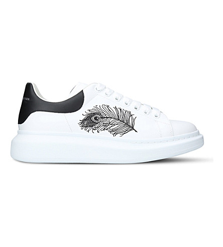 ALEXANDER MCQUEEN Show feather-embroidered leather platform trainers (White
