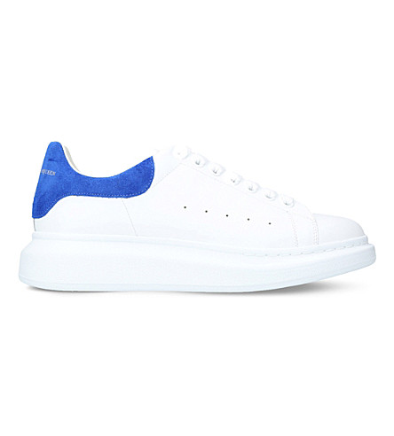 ALEXANDER MCQUEEN Show leather and suede trainers (White/navy
